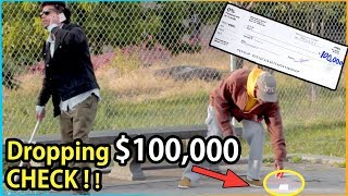 BLIND MAN DROPPING $100,000 Check Experiment (Social Experiment