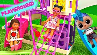 LOL Surprise Doll Punk Boi Builds a Barbie Playground with Ball Pit
