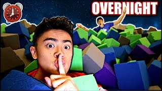 Overnight Challenge in TRAMPOLINE PARK Foam Cubes!