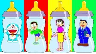 Doraemon Nobita Nobi Nobisuke Tamako Wrong Baby Bottle, Learn Colors with Finger Family