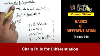 10. Physics | Basics of Differentiation | Chain Rule for Differentiation | by Ashish Arora