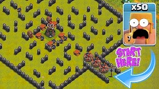 TRY NOT TO DIE!!😀BARB AND GOLEM ONLY MAZE!!😀Clash Of Clans