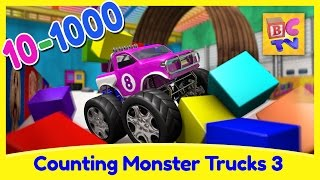 Counting Monster Trucks 3 | Learn to Count From 10 to 1000 for Kids