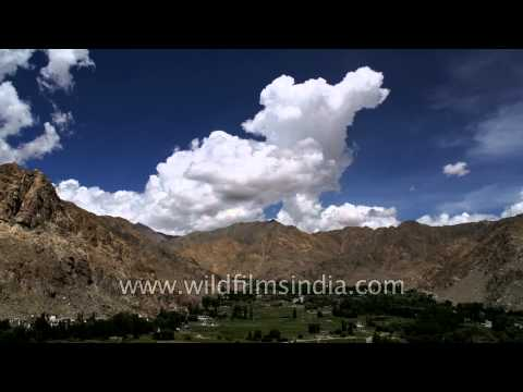 Time lapse of clouds over Fiang village in Ladakh, India