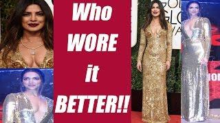 Deepika Padukone vs Priyanka Chopra's Golden dress, who wore it better ? | FilmiBeat