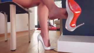 sexy secretary at office dangling shoeplay c.louboutin classy high heels barefoot