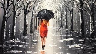 Lady with Black Umbrella Acrylic Painting