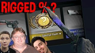 CS:GO KNIFE UNBOXING - VALVE CASES RIGGED FOR YOUTUBERS? (FUNNY MOMENTS)