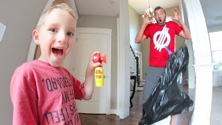 6 Year Old  Scares Dad With AIR HORN PRANK!