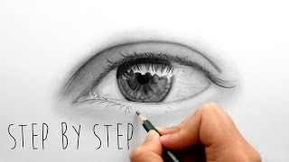 Step by Step | How to draw shade a realistic eye with graphite pencils | Emmy Kalia