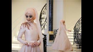 Minel Aşk Somon Tesettür Abiye Elbise Modelleri 2017