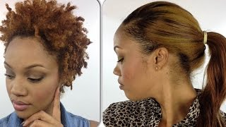 RE-UPLOAD: How To: Quick Weave With HIGH PONYTAIL! (On Natural Hair)