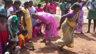 Village girls participating pongal festival game