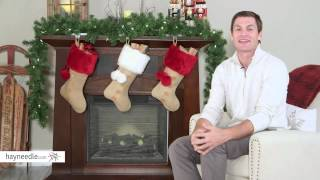 19 in. Burlap Super Plush White Cuff Stocking with Pom Poms - Product Review Video