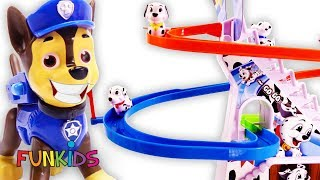 Paw Patrol Play Puppy Race Game with Surprise Chasing Slide