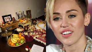 Popstar Miley Cyrus performs Laxmi Puja at her home
