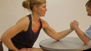 Girl next door with biceps Andrea mixed armwrestling