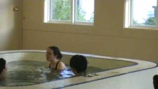 Korean mother with his son and me( in the swimming pool)