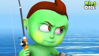 Greeny Kiddo Fishing in a Sea | Funny Episode for Kids - KidsOne