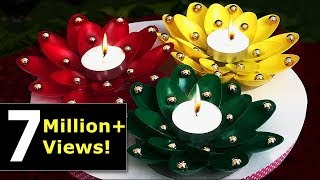DIY Diwali/Christmas Home Decoration Ideas : How to Decorate Christmas Candles from Plastic Spoons?