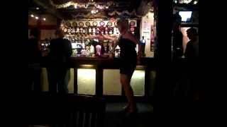 Drunk woman falls off bar!