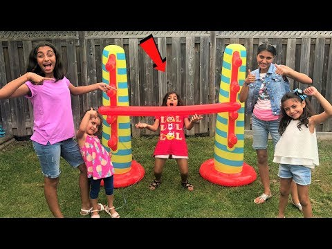 Xxx Mp4 Kids Play Inflatable Limbo Challenge With HZHtube Kids Fun Family Fun Game 3gp Sex