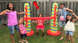 Kids play Inflatable Limbo Challenge with HZHtube kids fun!! family fun game