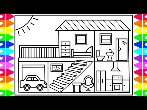 How to Draw a House for Kids 💚💙💜 House Drawing for Kids House Coloring Pages for Kids