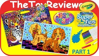 Part 1 - Lisa Frank Coloring Book Page Puppies Crayola Markers Unboxing Toy Review by TheToyReviewer