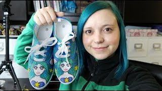 Mermaid Shoe Design with Fabric Markers - Trick Your Kicks Challenge