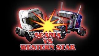 ETS  2 - Scania (Galvatron) VS Western Star (Optimus Prime) - TRANSFORMERS -  Peterbilt 4964EX