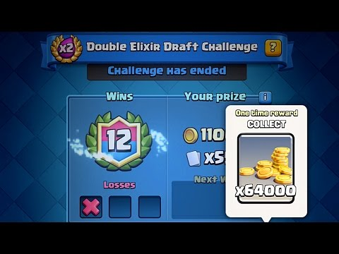 Clash Royale - 12 WINS FIRST TRY! Double Elixir Draft Challenge