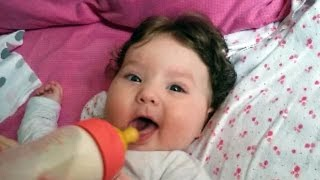 "Cute Baby Refuses To Eat and ""Talking"" - 4 Month old Baby Lile"