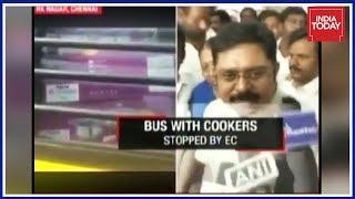 EC Officials Stop School Bus Loaded With Pressure Cookers In RK Nagar