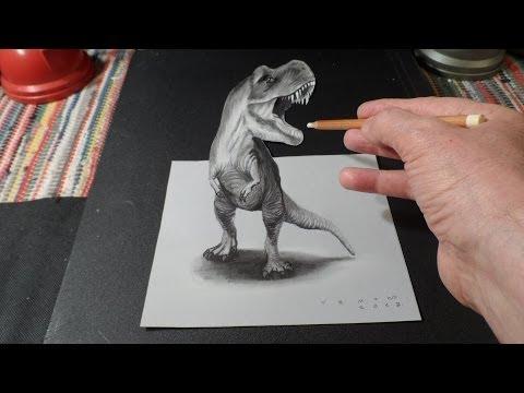 Trick Art Drawing 3D T Rex Optical Illusion