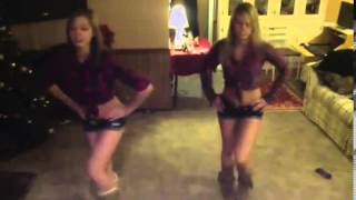 2 chicks dancing to country girl shake it for me dance