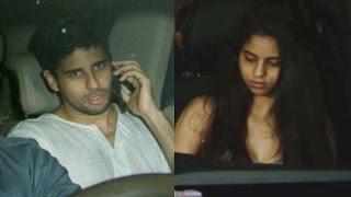 Sidharth Malhotra & SRK's daughter Suhana Khan spotted at Karan Johar's house