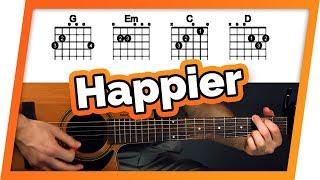 Happier - Ed Sheeran - Guitar Tutorial (Easy Chords For Beginners)