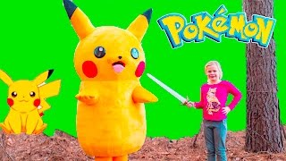 POKEMON Assistant Searches for Pickachu Charmander + Charizard Treasure Hunt  In Real Life Video