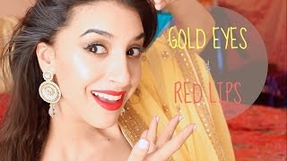 Gold and Bronze Smokey Eye Tutorial + Red Lips - Indian Bridal Makeup