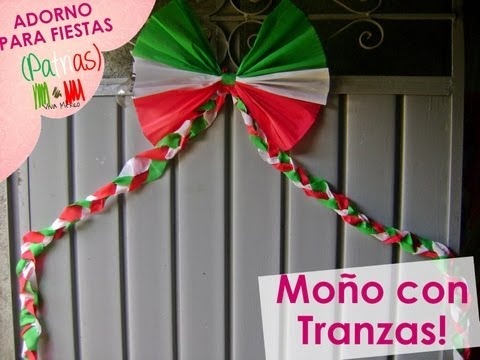 xoOlexiitOo❥Adorno para fiestas Patrias Moño con Trenzas Cadena Moño Papel Crepe