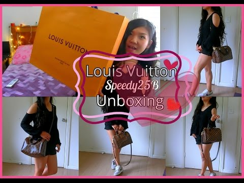 Louis Vuitton Speedy Bandouliere 25 #unboxing # 人生第一个LV包包开箱分享#Late Christmas Present #Carine #2016#