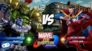 MARVEL VS CAPCOM INFINITE Spider-Man and Dr Strange VS Thanos and Hulk Gameplay