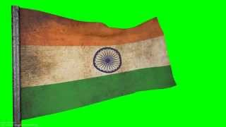 vintage indian flag grunge Flag  style 3D ANIMATION  1080p  green screen  s01r01