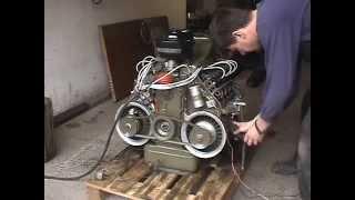 vzduchem chlazený Motor TATRA 603 V8, air-cooled engine, první start