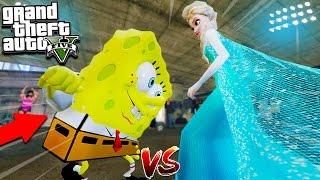 GTA 5 Mods Spongebob Fights Frozen Elsa! Power Rangers, Spiderman, Batman! (GTA 5 Mods)