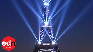 Eiffel Tower celebrates 130th birthday with laser show
