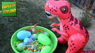Toy dinosaurs eggs GIANT NEST for kids videos SURPRISE dinos!!