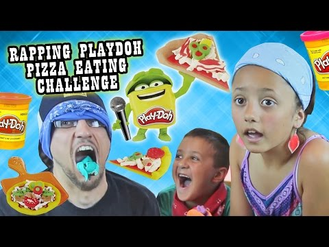 BLINDFOLD PIZZA PLAYDOH CHALLENGE w/ RAPPING & EATING!?!?  It Tastes So Like Totally Gross!