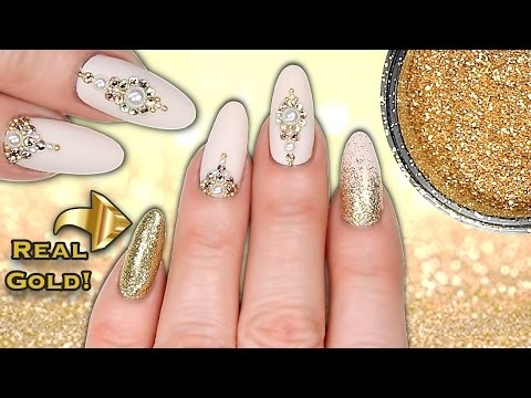 REAL 24CT GOLD NAILS!! LUXE MATTE NUDE, GOLD GLITTER, CRYSTAL & PEARL NAIL ART